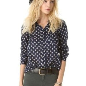 Madewell Eden Boy Shirt Elephant Navy Sheer